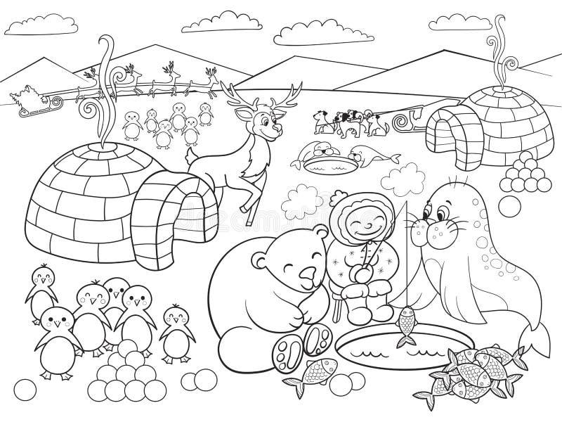 Niños Que Colorean El Ejemplo Del Vector De Polo Norte Ilustración ...