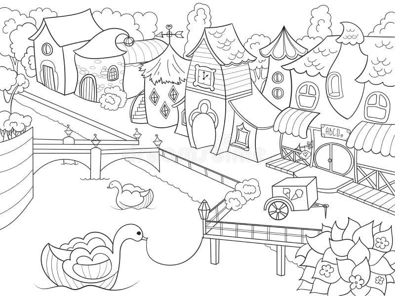 Niños que colorean la ciudad de hadas de la trama con el río ilustración del vector