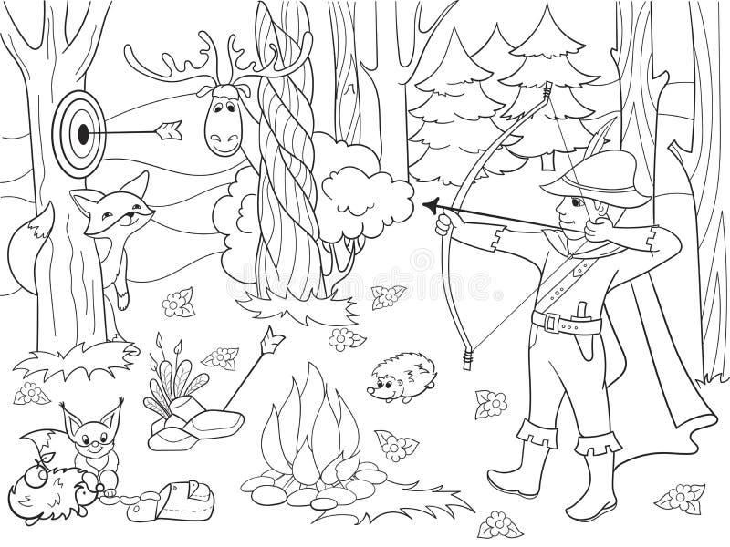 Niños que colorean la flecha de la trama en el bosque con los animales stock de ilustración