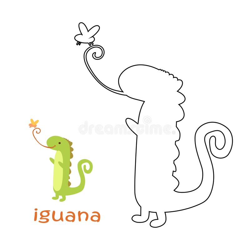 Niños que colorean la página - iguana stock de ilustración