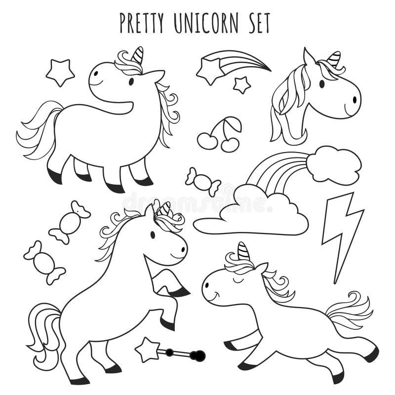 Niños Que Colorean La Página Unicornio Fijado Para El Libro De ...