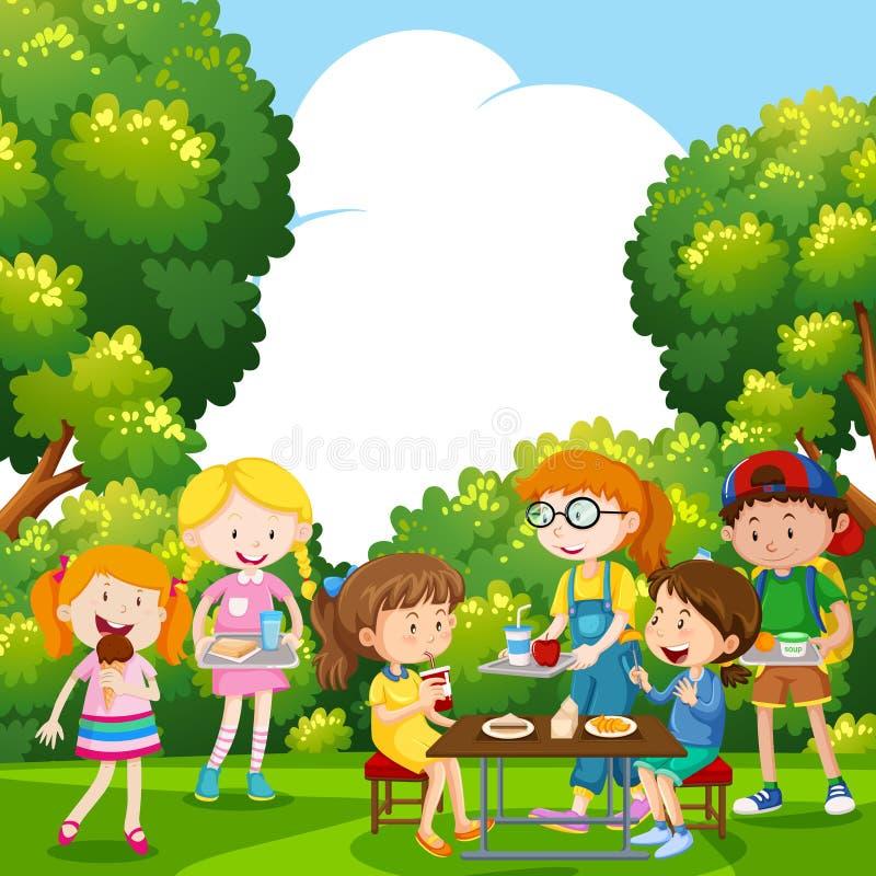 Niños que comen la comida en el parque ilustración del vector