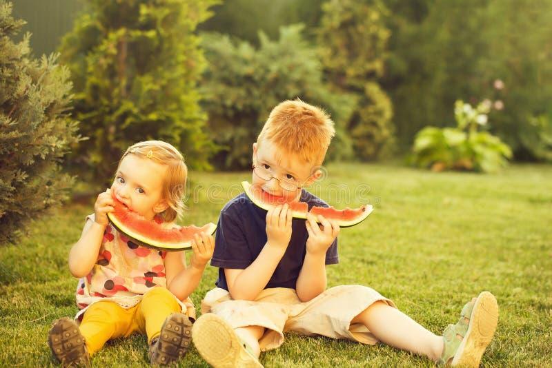 Niños que comen la sandía roja en hierba fotografía de archivo