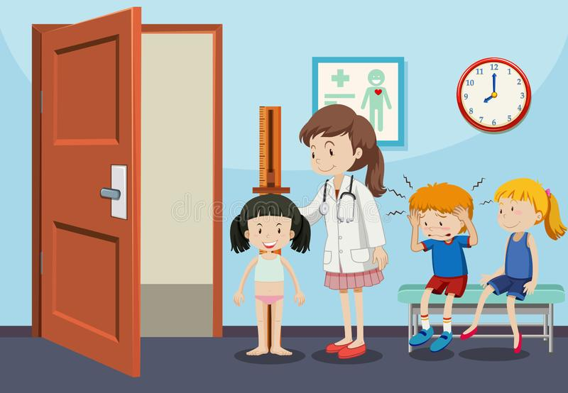 Niños que consiguen exámenes médicos libre illustration
