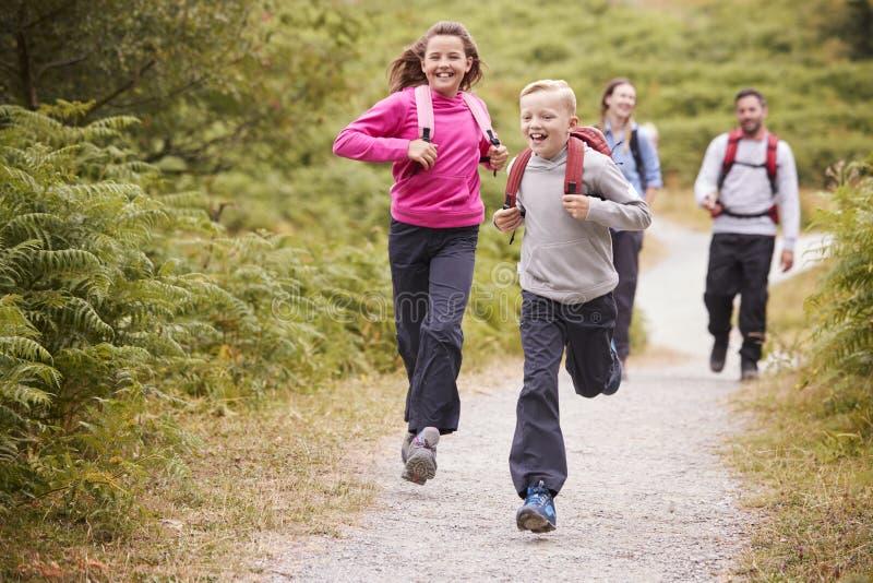 Niños que corren delante de los padres, caminando en una trayectoria del país durante una acampada de la familia, vista delantera imágenes de archivo libres de regalías