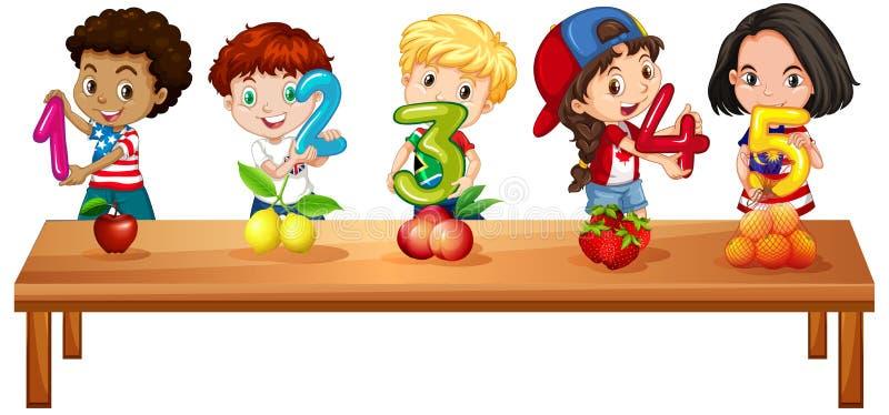Niños que cuentan los números uno a cinco libre illustration