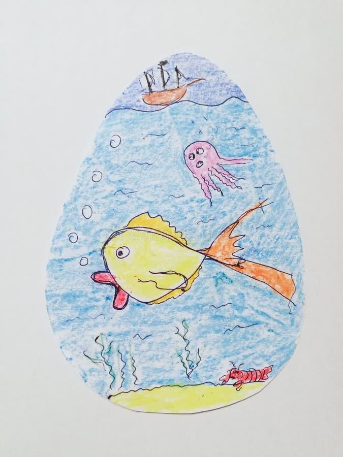 Niños que dibujan en el papel formado huevo fotografía de archivo libre de regalías