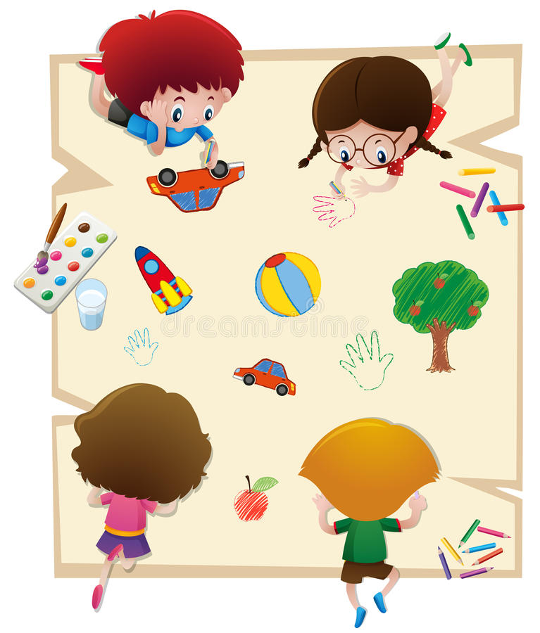 Niños que dibujan en el papel grande stock de ilustración