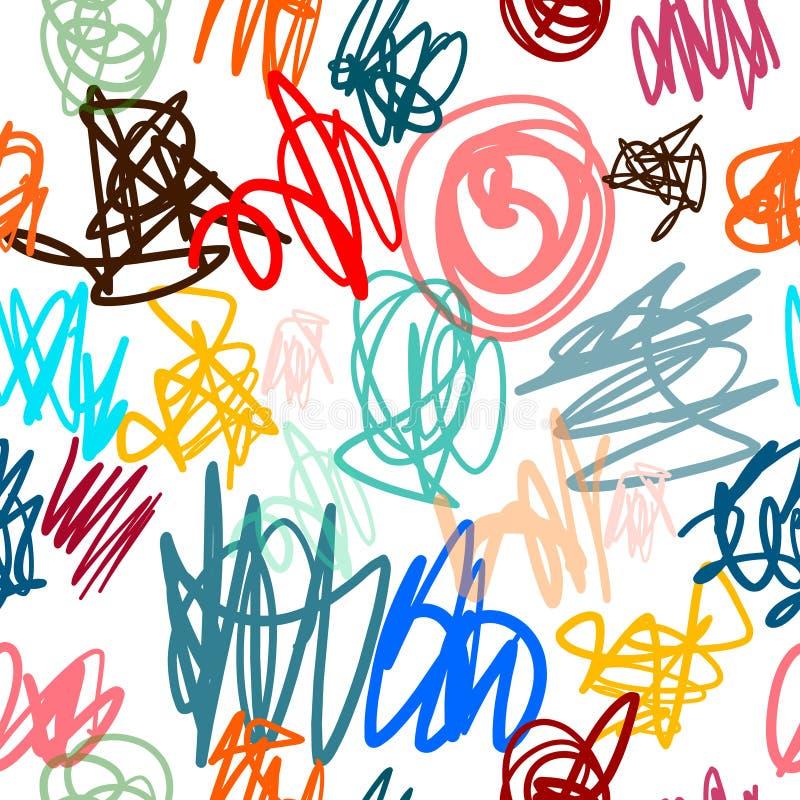 Niños que dibujan la mano colorida inconsútil del modelo del efecto del marcador del lápiz dibujada para las camisetas de las imp stock de ilustración