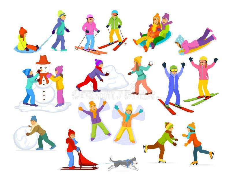 Niños que disfrutan de actividades de la diversión del invierno en nieve e hielo libre illustration