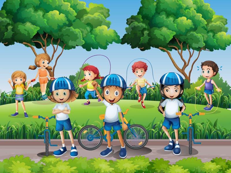 Niños que ejercitan en el parque stock de ilustración
