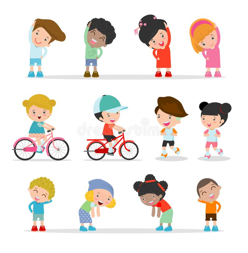 Niños que ejercitan, niños que estiran, niño que ejercita, niños felices que ejercitan, ejemplo lindo plano del diseño de la hist stock de ilustración