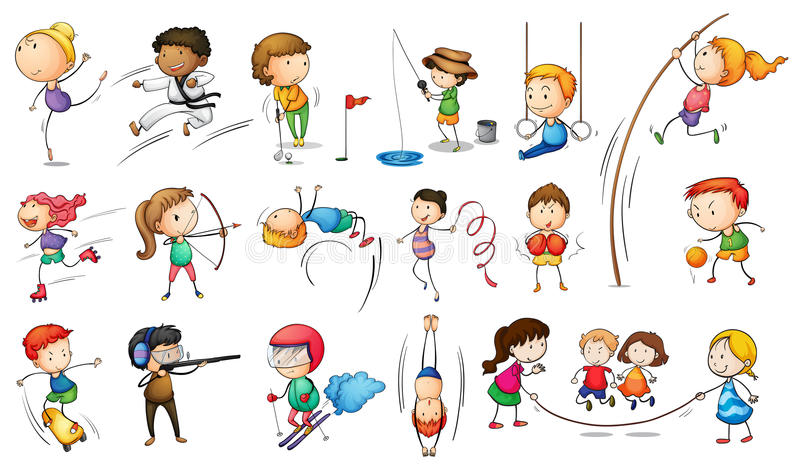 Niños que enganchan a diversos deportes ilustración del vector