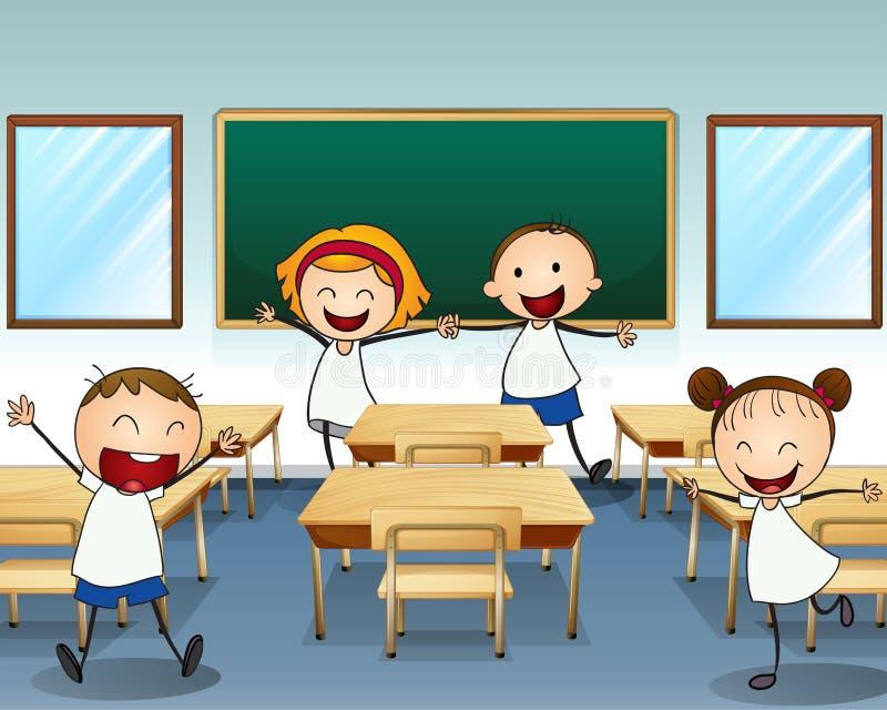 Niños que ensayan dentro de la sala de clase libre illustration