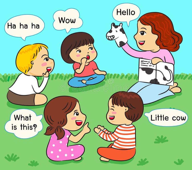 Niños que escuchan la narración en el ejemplo del vector de la hierba ilustración del vector
