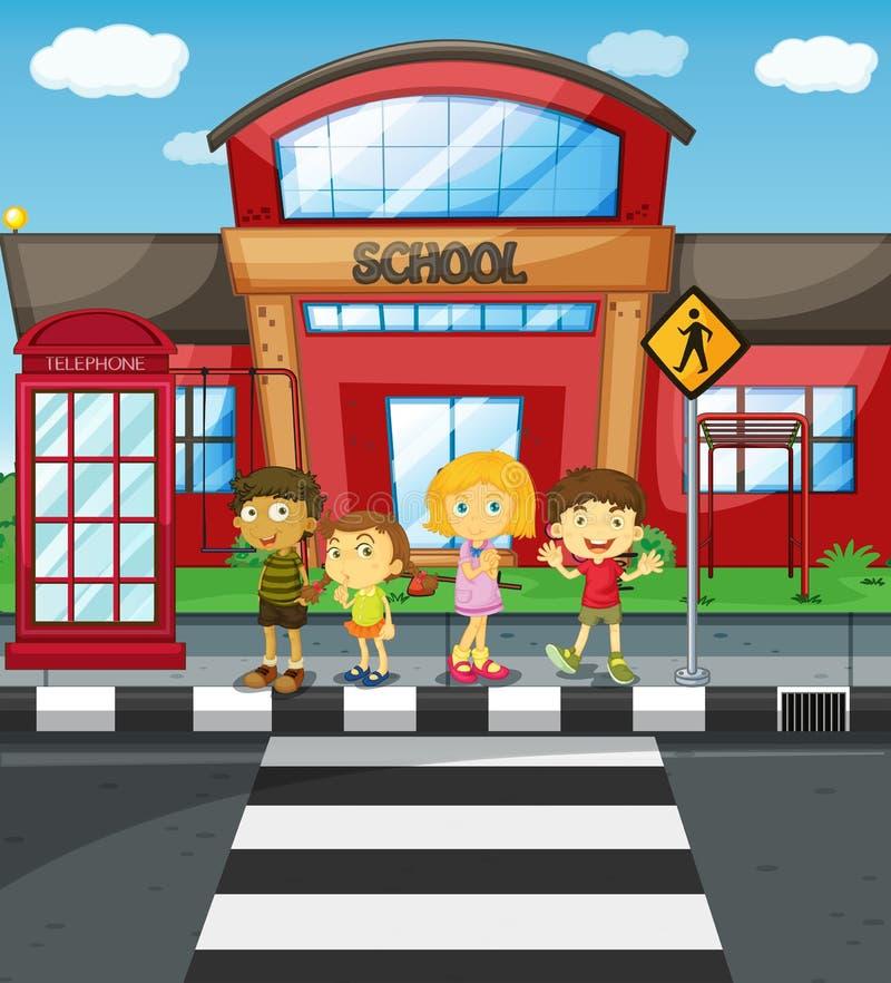 Niños que esperan para cruzar el camino delante de la escuela ilustración del vector
