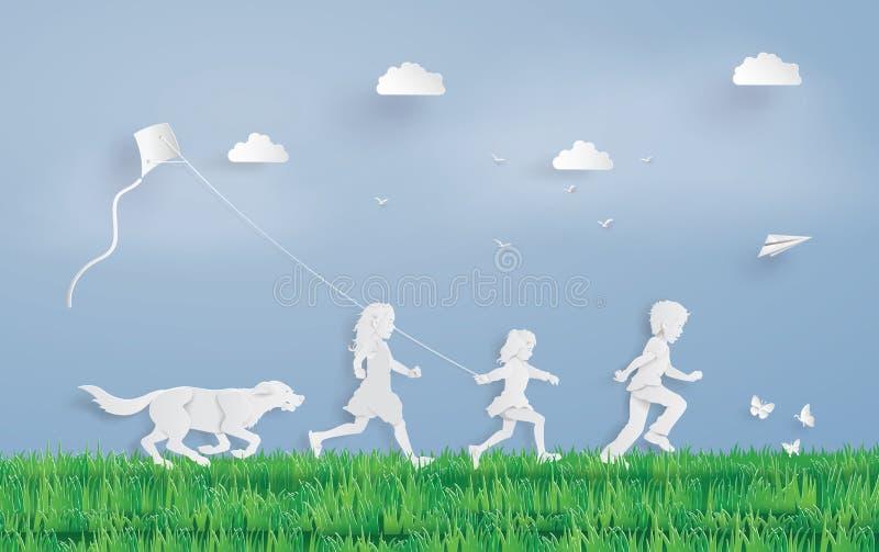Niños que funcionan con el campo libre illustration