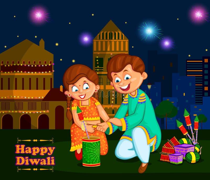 Niños que gozan del petardo que celebra el festival de Diwali de la India ilustración del vector