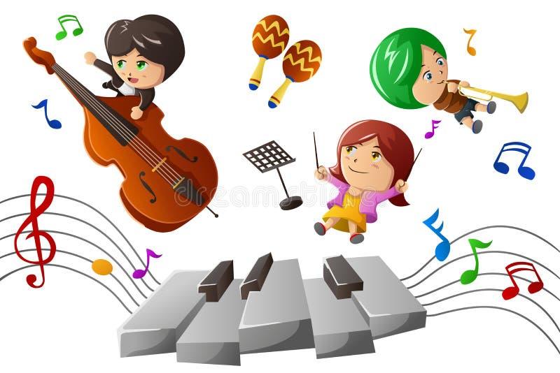 Niños que gozan jugando música libre illustration