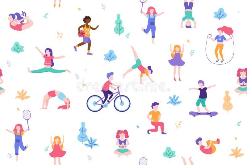 Niños que hacen actividades y deportes en el ejemplo plano del vector del diseño La gente camina en el modelo inconsútil del parq ilustración del vector