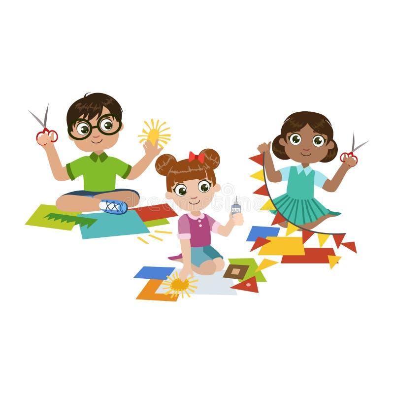 Niños que hacen el arte de papel ilustración del vector