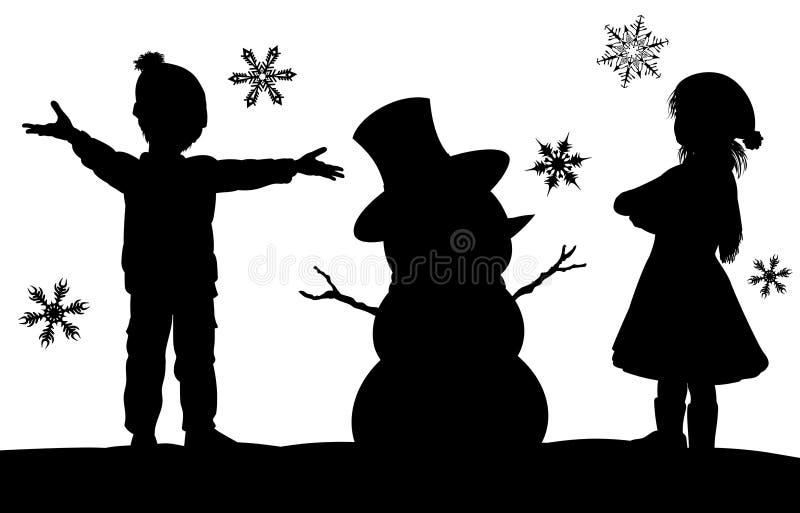 Niños que hacen escena de la silueta de la Navidad del muñeco de nieve ilustración del vector