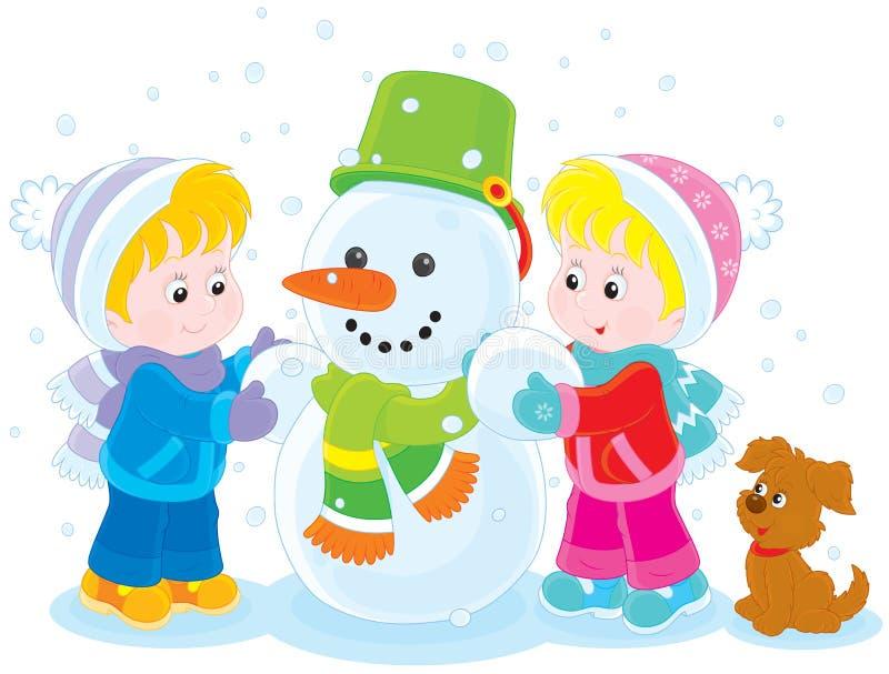 Niños que hacen un muñeco de nieve libre illustration