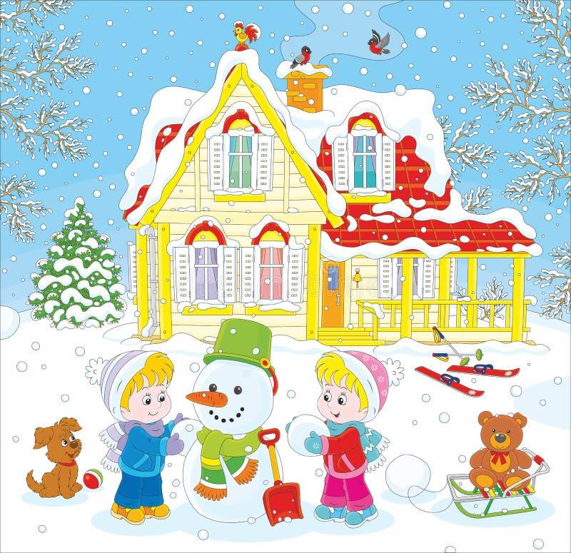 Niños que hacen un muñeco de nieve stock de ilustración