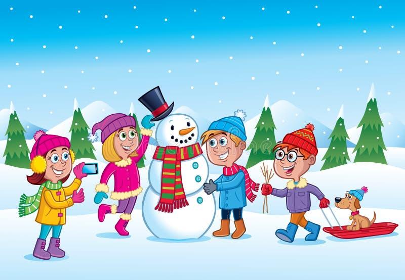 Niños que hacen un muñeco de nieve durante invierno stock de ilustración