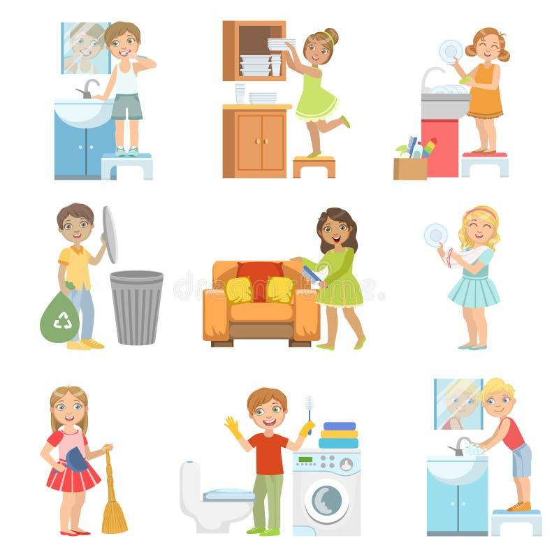Niños que hacen una limpieza casera stock de ilustración