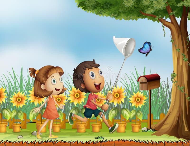 Niños que intentan coger una mariposa stock de ilustración