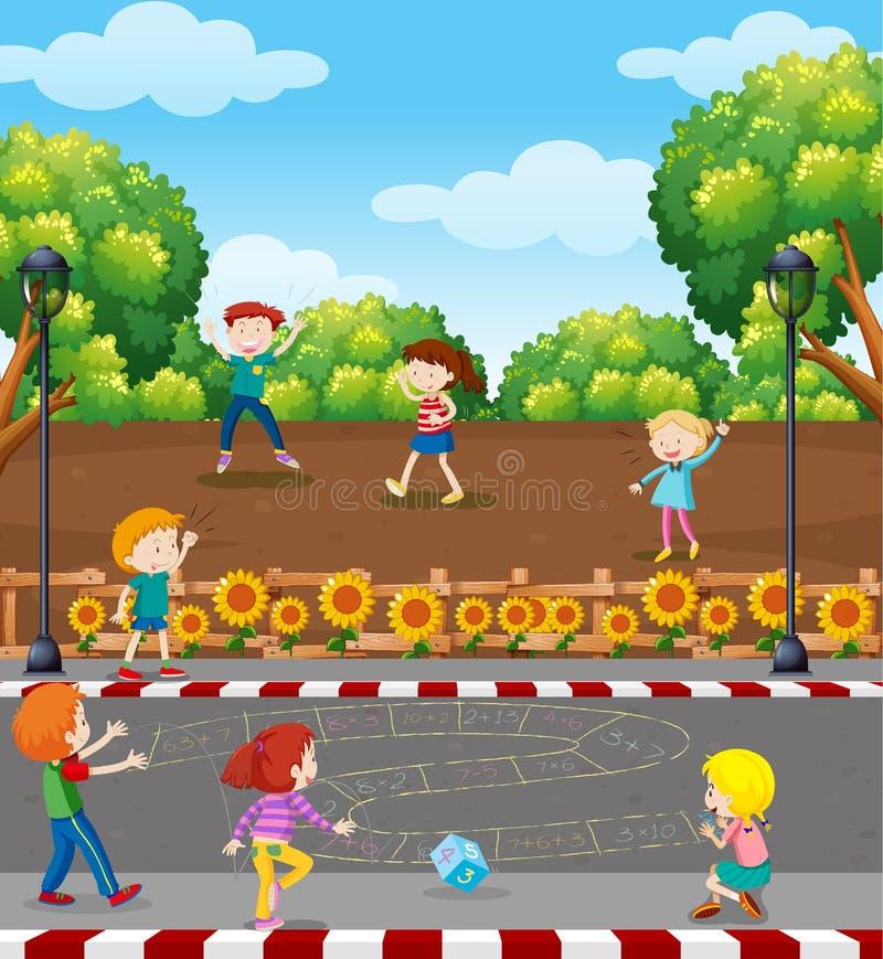 Niños que juegan al juego de la matemáticas en el patio stock de ilustración