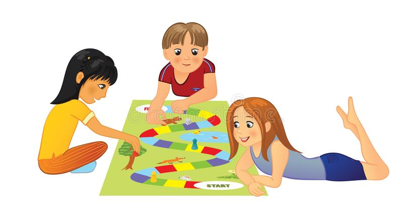 Niños que juegan al juego de mesa libre illustration