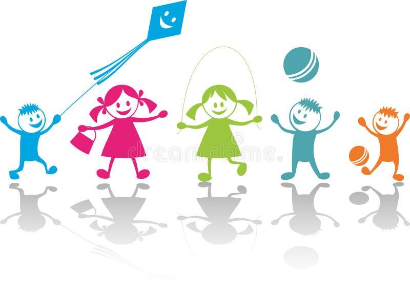 Niños que juegan alegres libre illustration