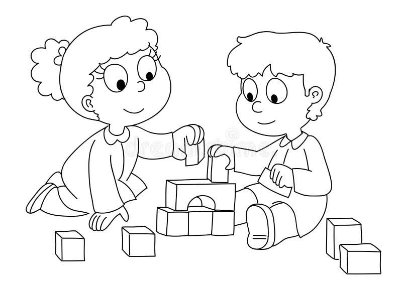 Niños que juegan - bw stock de ilustración