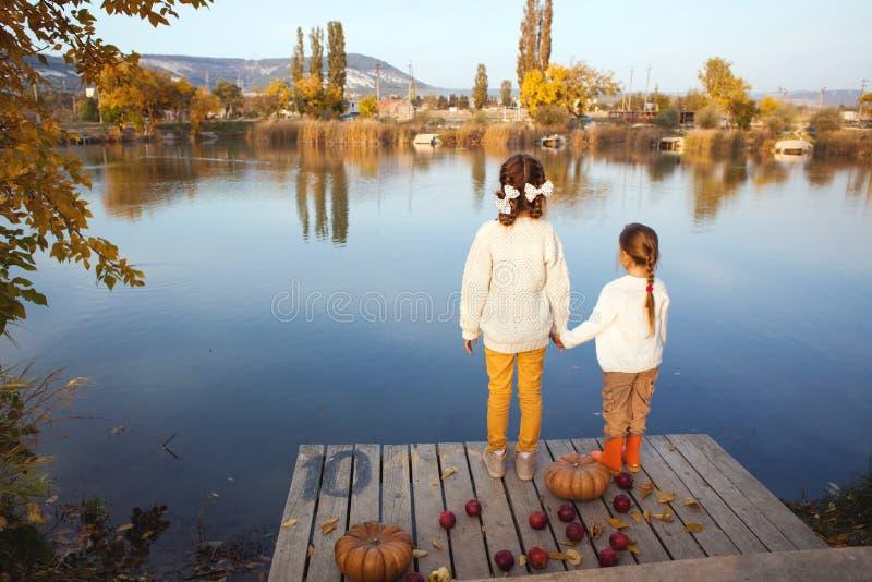 Niños que juegan cerca del lago en otoño imagenes de archivo