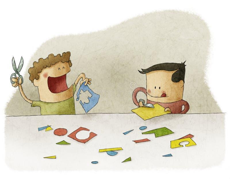 Niños que juegan con el arte libre illustration