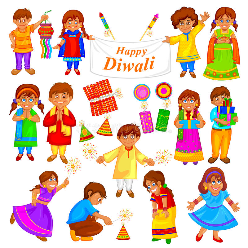 Niños que juegan con el petardo en Diwal stock de ilustración