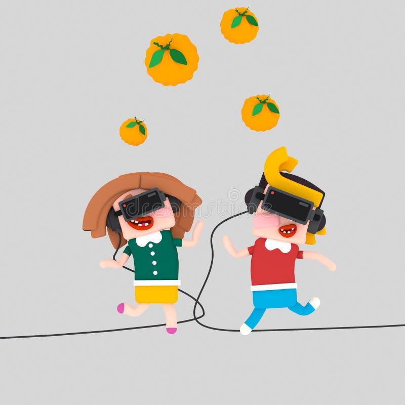 Niños que juegan con el sistema del vr 3d stock de ilustración