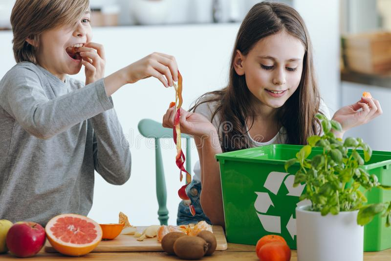 Niños que juegan con la piel de la manzana imágenes de archivo libres de regalías