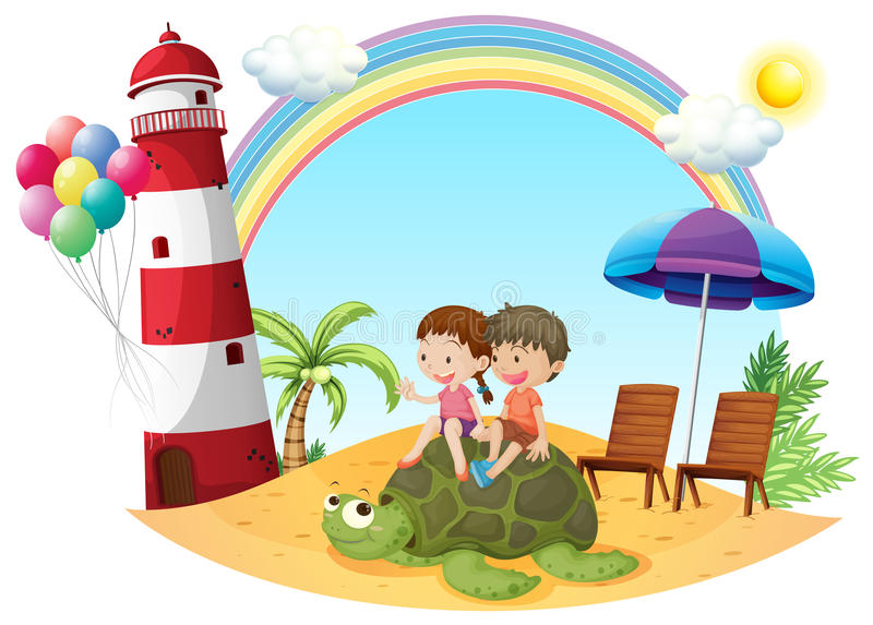 Niños que juegan con la tortuga en la costa ilustración del vector