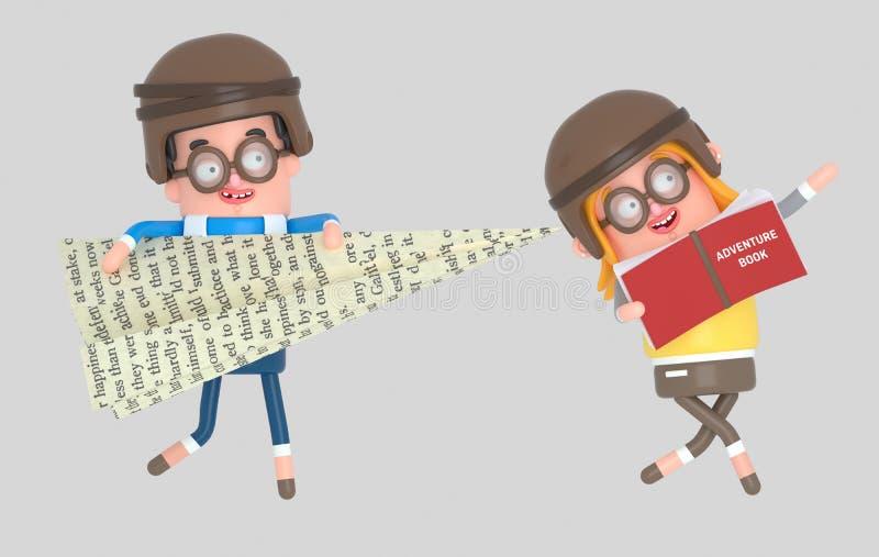 Niños que juegan con un avión de papel grande y un libro grande de la aventura muchacho del illustrationYoung 3d que juega con un libre illustration