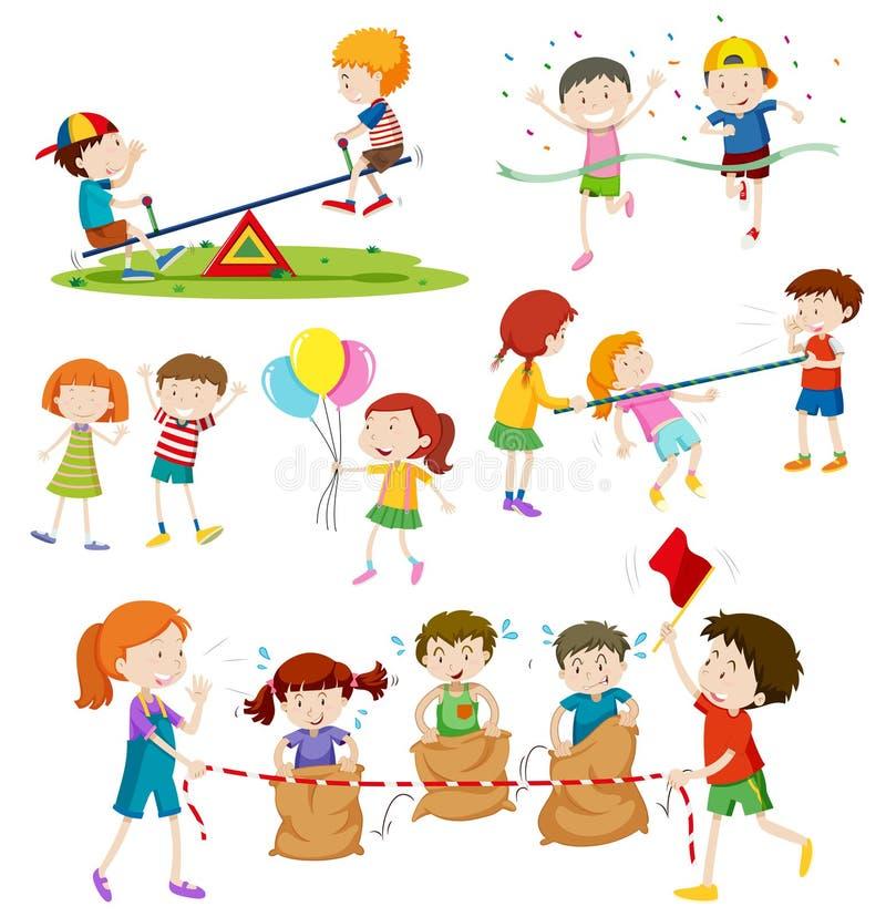 Niños que juegan a diversos juegos libre illustration
