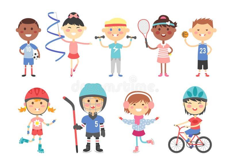 Niños que juegan a diversos juegos de los deportes tales nosotros hockey, fútbol, gimnasia, aptitud, tenis, baloncesto, patinaje  libre illustration