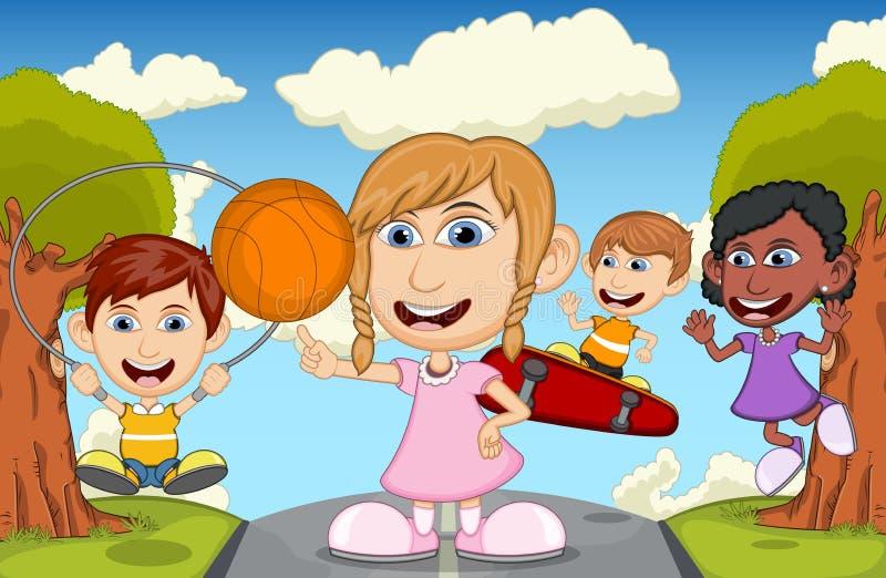 Niños que juegan el monopatín, baloncesto, cuerda de salto en el ejemplo del vector de la historieta del parque stock de ilustración