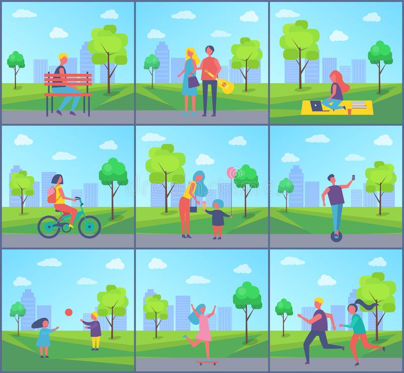 Niños que juegan en el ejemplo del vector del sistema del parque libre illustration
