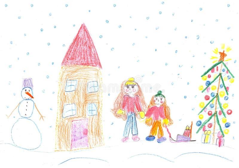 Niños que juegan en el invierno, paseo del trineo stock de ilustración