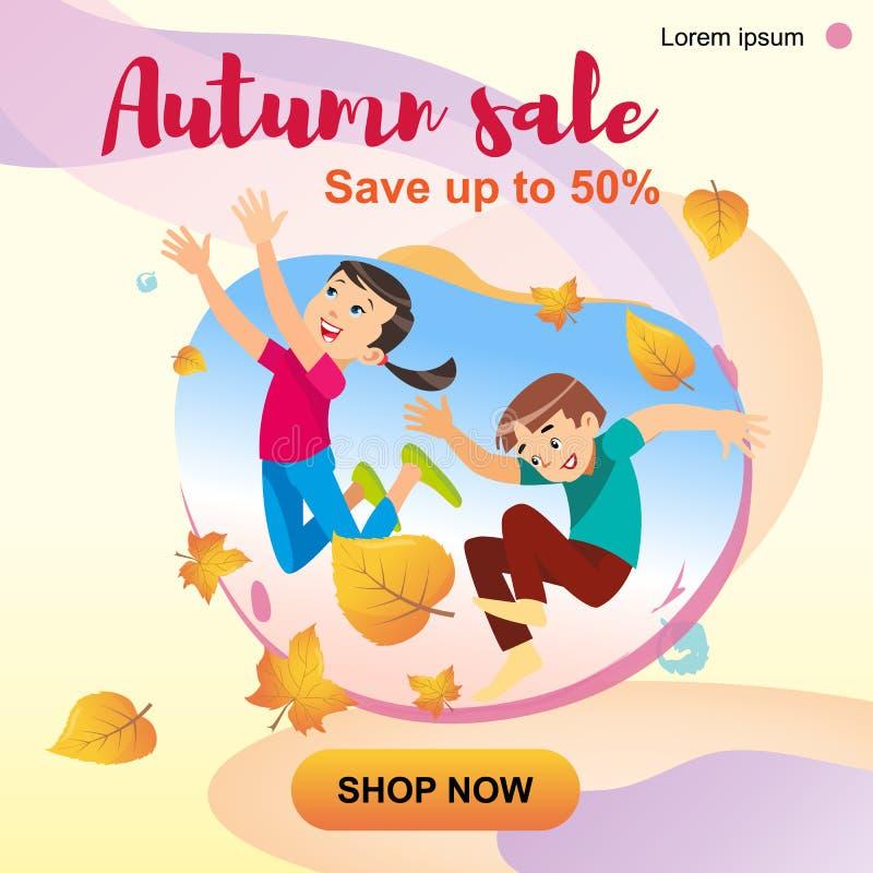 Niños que juegan en el parque que lanza para arriba las hojas stock de ilustración