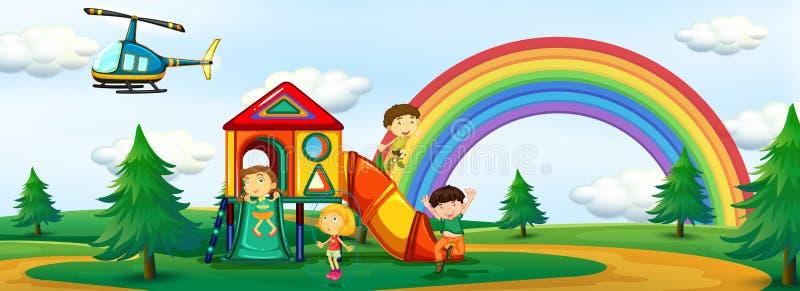 Niños que juegan en el patio libre illustration