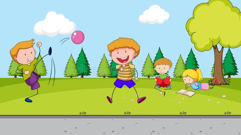 Niños que juegan en el patio ilustración del vector